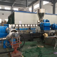 Two stage extruder machine with water ring pelletizing system